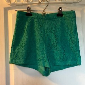 Pants - Teal High Waisted Textured Shorts